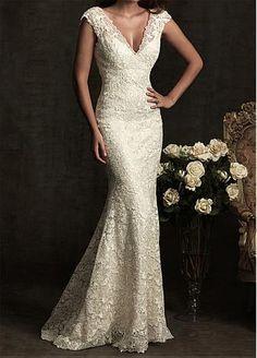Elegant Exquisite Lace Mermaid V-neck Wedding Dress