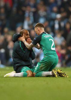 576de56d7 Lucas and Kieran Trippier of Tottenham Hotspur react to the win.