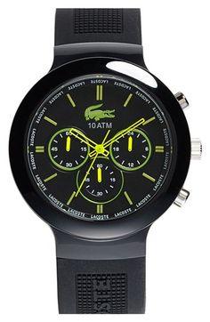 Men's Lacoste 'Boreno' Chronograph Silicone Strap Watch