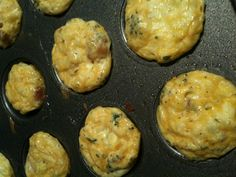 Bacon and Cheddar Mini Egg Muffins!  Mix 4-5 eggs, 3-4 pieces of bacon roughly chopped, 1 cup shredded cheddar cheese, salt pepper, and parsley to taste. Pour in mini muffin tin bake at 350 for 10-12 mins or until they set. Makes appx 25 mini muffins.