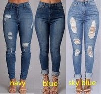 Wish | Women's fashion Sexy High Waist Pencil Jeans Casual Blue Ripped Denim Pants Lady Long Skinny Slim Maxi Jeans Trousers