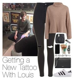 """""""Getting a New Tattoo With Louis"""" by zarryalmighty ❤ liked on Polyvore featuring Topshop, Prada, adidas Originals, Casetify, American Apparel, King Baby Studio, ASOS, Grace + Scarper, OneDirection and louistomlinson"""