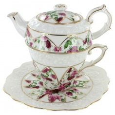 Red Rose Porcelain - Tea for One with Saucer	http://www.englishteastore.com/teaforone/red-rose-porcelain-tea-for-one-lid.html