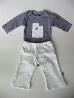 I heart Utah onesie--freezer paper stenciling. dana-made-it.com