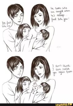 Eren x mikasa family Attack On Titan Comic, Attack On Titan Ships, Attack On Titan Fanart, Anime Demon, Anime Manga, Mikasa X Eren, Cute Hug, Titans Anime, Eremika