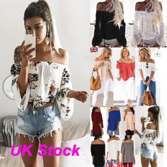 UK Womens Off Shoulder T Shirt Ladies Casual Summer Lace Floral Blouse Tops New | eBay