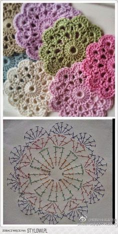 "Delicadezas ""Crochet Flower Coaster - with Diagram"", ""Crochet - coasters pattern (instructions in Russian)"", ""Free crochet coaster pattern using one Crochet Coaster Pattern, Crochet Motifs, Crochet Flower Patterns, Crochet Diagram, Crochet Chart, Crochet Squares, Love Crochet, Diy Crochet, Crochet Designs"