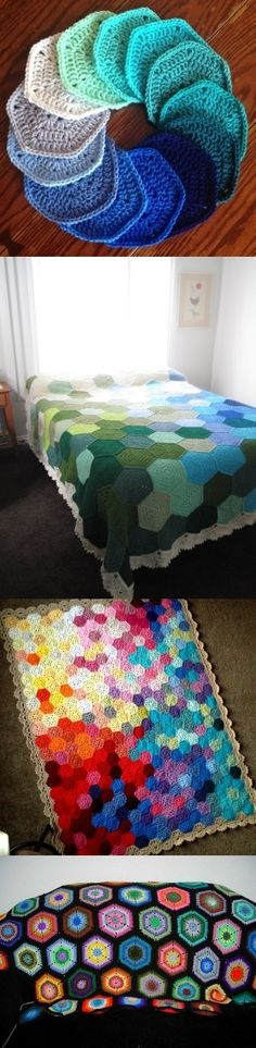 A few examples of what color choice, hook size, & motif size (number of rounds) can do for this basic hexagon pattern -- all these are so eyecatching!