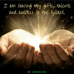 Comment yes to download this affirmation into your subconscious mind: I am sharing my gifts, talents and abilities to the fullest.  To receive more free, ongoing healing support, visit:  http://www.miraculousmanifestations.com  #InfinityHealing