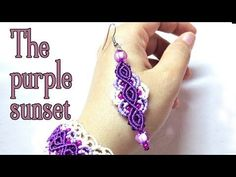 Macrame earrings tutorial: The purple sunset - YouTube
