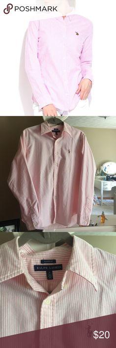 Ralph Lauren Polo Pink striped Ralph Lauren polo. Never worn, in perfect condition! Smoke free home Ralph Lauren Tops Button Down Shirts