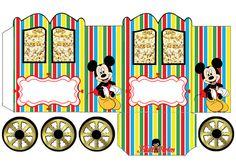 Mickey: Caja con forma de Carruaje para Imprimir Gratis.