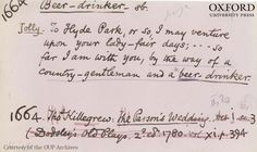 Citation for the word 'beer drinker' sent in by a volunteer reader for the first edition of the Oxford English Dictionary, c.1860s-80s. Courtesy of OUP Archives - please always credit original. #beer #dictionary #words