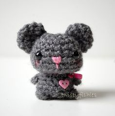 Baby Gray Mouse  Kawaii Mini Amigurumi Plush by twistyfishies, $16.00