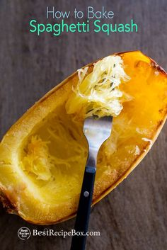 Easy recipe technique on how to roast or how to bake spaghetti squash in the oven. This roasted spaghetti squash recipe is healthy, low fat, low carb.