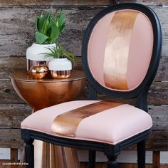Octavia Chair from the AVE Raw Collection | Handpainted and Finished with a Dark Grey and and Rose Gold Metallic Color Combo | Ave Home