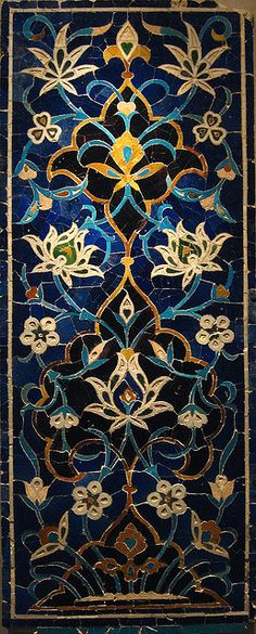15th Century Timurid mosaic tile with lotus blossoms, Transoxiana.  (Persian Mosaic.  Photo by oceandesetoiles on flickr.)
