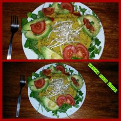 Again Argula & corn salad, mung bean sprouts, couscous ( with hot pepper,curry in cocos milk cooked ), avocado,tomatoes and volcanic salt - black salt #vegan #veganfoodlove #vegansalad #salad #cornsalad #argulasalad #couscous #mungbeans #mungbeansprouts #avocado #avocadosalad #tomatoes #tomato #coconut #cocos #cocosmilk #hotpepper #hotpeppers #curry #blacksalt #salt Vegan Food, Vegan Recipes, Mung Bean, Bean Sprouts, Corn Salads, Avocado Salad, Stuffed Hot Peppers, Couscous, Tomatoes