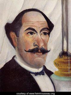 Self Portrait Of The Artist With A Lamp - Henri Julien  Rousseau - www.henrirousseau.org