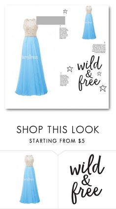 """""""A Line Scoop Neck Chiffon Tulle Floor Length Beading Blue Open Back Prom Dress"""" by harrydress ❤ liked on Polyvore"""