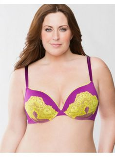 f7f997ce8bd64 Plus Size Plunge bra with neon lace – - Women s Size 42C