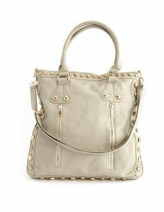 Studded Zip-Front Satchel Bag: Charlotte Russe