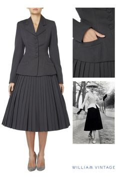 Discovered by William Vintage, a Dior grey skirt suit from the Spring/Summer 1996 collection.  Designed by Gianfranco Ferré, this suit is an homage to the most iconic Dior look of all time; the 'Bar' suit of 1947.  Constructed in fine grey wool and composed of a sharply tailored five button jacket with a pleated full skirt, defining the New Look and the silhouette of 1950s Dior.