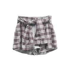 Tartan Plaid Waist-Tie Shorts (77 BRL) ❤ liked on Polyvore featuring shorts, bottoms, skirts, pants, tie waist shorts, patterned shorts, tartan shorts, plaid shorts and print shorts