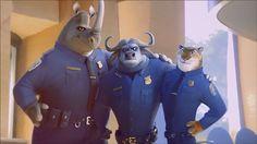 Chief Bogo, and his crew - Zootopia Zootopia Characters, Zootopia Movie, Zootopia 2016, Disney Magic, Disney Art, Disney Movies, Disney And Dreamworks, Disney Pixar, Walt Disney