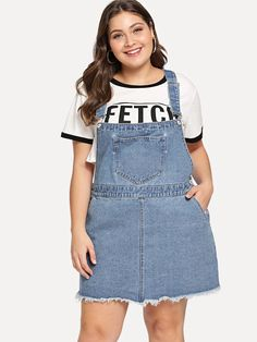 Shop Plus Raw Hem Pocket Front Denim Dress online. SHEIN offers Plus Raw Hem Pocket Front Denim Dress & more to fit your fashionable needs. Denim Dresses Online, Dress Online, Plus Size Dresses, Nice Dresses, Denim Overall Dress, Dresses Online Australia, Belted Shirt Dress, Pinafore Dress, Dress Codes