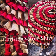 No Sew, Burlap Ruffled Christmas Tree Skirt.