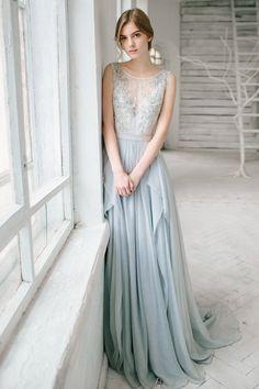 Silver grey wedding dress // Lobelia by CarouselFashion on Etsy