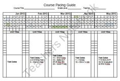 2013 Semester Pacing Guide Planning Template FREEBIE product from Kirks-Corner on TeachersNotebook.com