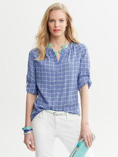 Banana Republic Tile-Print Blouse. J.Crew White Chino Shorts or AG White Jeans.