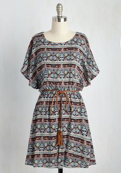 Altogether Entrancing Dress in Botanical - Multi, Blue, Print, Casual, Festival, A-line, Short Sleeves, Spring, Woven, Good, Mid-length, Variation, Boho