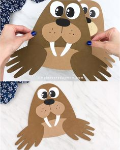 Handprint Walrus Craft Looking for a fun and easy winter craft for kids to make? This handprint walrus is super cute and simple thanks to our free printable template. Make it at home or at school with toddlers, preschoolers and kindergarten children. Halloween Crafts For Toddlers, Animal Crafts For Kids, Winter Crafts For Kids, Crafts For Kids To Make, Toddler Crafts, Art For Kids, Winter Crafts For Preschoolers, Daycare Crafts, Preschool Crafts