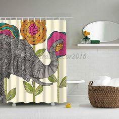 Waterproof Polyester Bathtub Shower Sheer Curtain Panel w/ Hooks Elephant #1