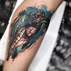 Watercolor Insane Turtle In Water Mens Arm Tattoo