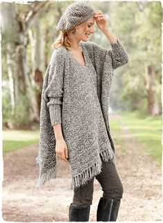 San Telmo Poncho A portrait of laid-back chic, our lofty sleeved poncho is knit in tweeded bouclé yarns of baby alpaca (68%), wool (17%), nylon (8%) and silk (7%). Timeless in a textural lace stitch, with a v-neck, drop shoulders, long ribbed cuffs and a fringed hem.