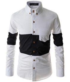 7043fce262bd 2016 Men S Fashion Men Shirt Stylish Stitching Camisa Masculina  Long-Sleeved Shirt Male Shirts Slim