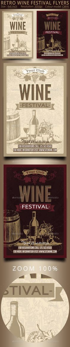 Wine Festival Vintage Flyer | Flyer template, Graphics and Template