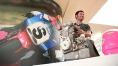 Guy Martin admiring a John Britten motor at Classic Motorcycle Mecca in Invercargill.