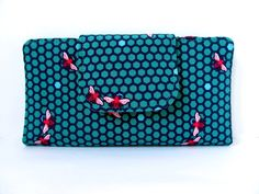 Fabric wallet Teal blue Pink Bee Hive by LuckyCatHandmade on Etsy, €25.00
