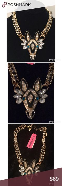 """BETSEY JOHNSON CRYSTAL ZEBRA  STATEMENT NECKLACE RARE BETSEY JOHNSON CRYSTAL ZEBRA CRITTER PENDANT STATEMENT NECKLACE NWT  retail $125  Features: Crafted in gold-tone mixed metal Gold-tone embellished zebra pendant necklace with woven and rhinestone detail Necklace is approx. 15"""" long with a 3"""" extender Pendant drop: 3"""" Lobster clasp closure Imported Betsey Johnson Jewelry Necklaces"""