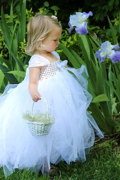 White Tulle & Lace Bridal Flower Girl Gown with by sweethearttutus, $95.00