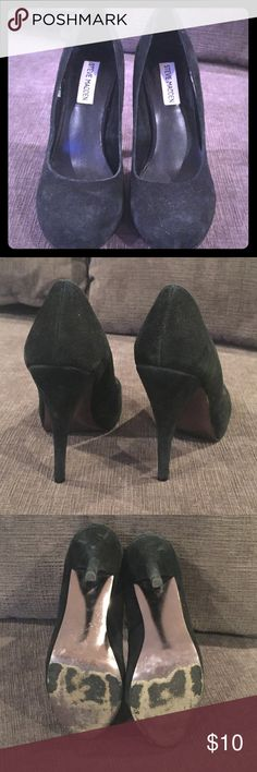 Steve Madden Trinitie Pumps Black Suede pumps. They go with EVERYTHING. Slights scuffed and worn( see photo). Steve Madden Shoes Heels