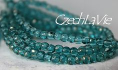 NEW 3mm Czech Druk Beads Green aqua with some gold by CzechLaVie, $2.44