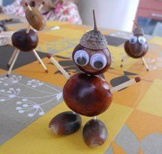 Mit Kastanien basteln im Herbst - naturspass. Autumn Crafts, Fall Crafts For Kids, Nature Crafts, Diy For Kids, Kids Crafts, Diy And Crafts, Christmas Crafts To Sell, Christmas Diy, Arte Naturalista