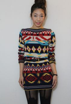 Stunning sweater dress featuring colorful Aztec design. Ribbed at neckline, cuff and hem. Unlined.  - size: S
