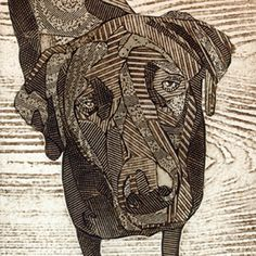 Bonnie Murray - Black Labrador Retriever (collagraph). I like how the musculature of the face is segmented by different bits of card/fabric/etc and her use of fine textures for shadows. The warm brown-black was created by blending sepia and black ink, I'd considered myself whether to blend inks this way.